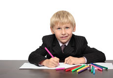 The boy draws Royalty Free Stock Photography