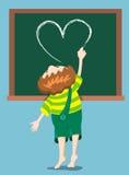 Boy draws heart. The boy draws heart on the blackboard. Cartoon illustration Stock Image