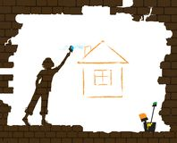 Boy draws the house by paint brash on the old broken brick wall, protect homeless children concept, home dream idea. Graffiti, vector Stock Image