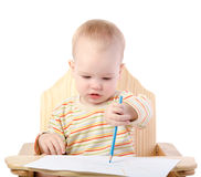 A boy draws with a pencil. On white background Stock Photo