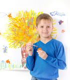Boy draws a picture Stock Photo