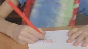 A boy draws the square stock footage