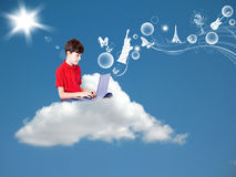 The Boy is in the Dream Country. With his Computer Royalty Free Stock Photography