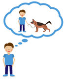 Boy dream about having dog. Dog inside think cloud. Vector illustration Royalty Free Stock Images