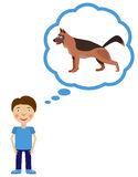 Boy dream about having dog. Dog inside think cloud. Vector illustration Royalty Free Stock Photo