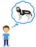 Boy dream about having dog. Stock Images