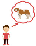 Boy dream about having dog. Royalty Free Stock Image