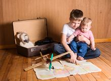 Boy dreaming of adventure. Children preparing for the journey. B Royalty Free Stock Images