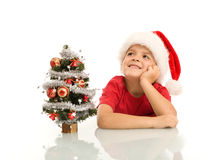 Boy dreaming of christmas Royalty Free Stock Images