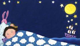 Boy dreaming about sailing ship. Acrylic illustration of boy dreaming about sailing ship Royalty Free Stock Photos