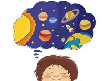 Boy dreaming of space adventure stock illustration