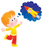 Boy dreaming of a space flight. Isolated clipart illustration of a red-haired boy dreaming of an interstellar flight Royalty Free Stock Images