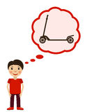 Boy dreams aboit scooter. Children wishes a toy. Boy dreams about scooter. Children wishes a toy. Vector illustration Royalty Free Stock Photography
