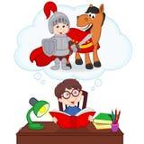Boy dreams of becoming knight. Vector illustration, eps Stock Photos