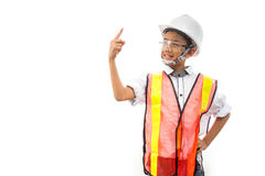 The boy dreams of being an engineer stock image