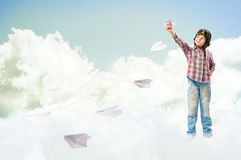 Boy Dreams Of Becoming A Pilot Royalty Free Stock Photography