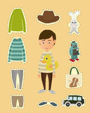 Boy dress up sticker Royalty Free Stock Photo