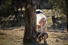 Boy dressed as American Indian Royalty Free Stock Image