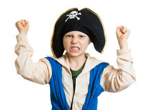 Boy dressed as angry pirate Stock Photo
