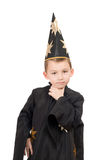 Boy dressed as astrologer. Portrait of a boy dressed as astrologer royalty free stock image