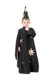 Boy dressed as astrologer. Isolated. On white royalty free stock images