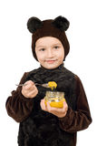 Boy dressed as bear. Isolated Stock Images