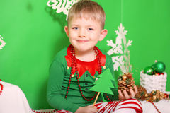 Boy dressed as an elf Stock Photos