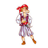 Boy dressed as pirate for  Christmas. Boy dressed as pirate vector illustration Royalty Free Stock Photos