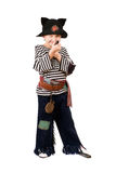 Boy dressed as a pirate. Isolated Royalty Free Stock Images