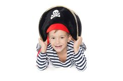 Boy dressed as pirate over white Royalty Free Stock Photography