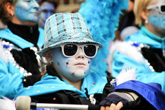 Boy dressed in blue costumes in carnival parade. Royalty Free Stock Photography