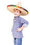 A boy dressed checked shirt. With an mexican hat on his head - studio photo Stock Photography