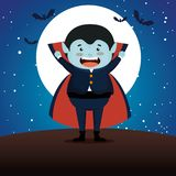 Boy Dressed Up As A Count Dracula Stock Photography