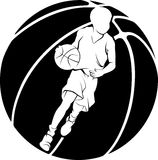 Boy Dribbling A Basketball Stock Images