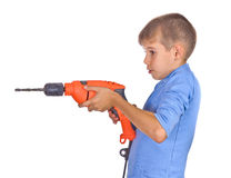 Boy with a drill. Isolated on white background Stock Image