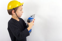 Boy with drill Royalty Free Stock Image