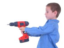 Boy with A Drill Two Stock Photos