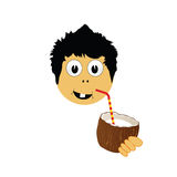 Boy drink coconut milk vector illustration Royalty Free Stock Images