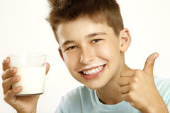 Boy drink milk Royalty Free Stock Images