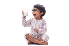 Boy drink milk Stock Photo
