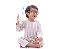 Boy drink milk. Cute boy drink milk isolated on white Royalty Free Stock Image