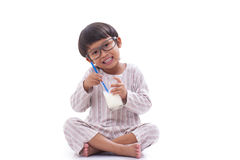 Boy drink milk Stock Images