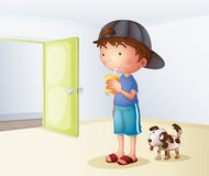 A boy drinking beside his dog stock illustration