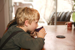 Boy drinking hot chocolatemilk Royalty Free Stock Images