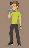 Boy drinking illustration Stock Photos