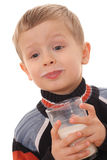 Boy drinking milk Stock Image