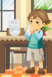 Boy drinking water royalty free illustration