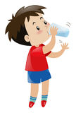Boy drinking water from glass. Illustration Stock Photo