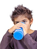 Boy drinking water isolated Stock Photos