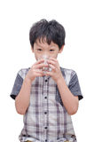 Boy drinking water over white background Royalty Free Stock Photo